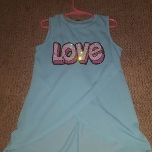 Blue love tank top